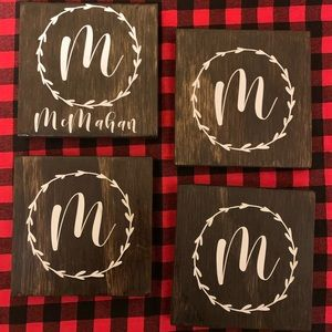 Personalized wooden coaster sets!